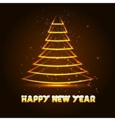 Happy New Year with Xmas tree vector image