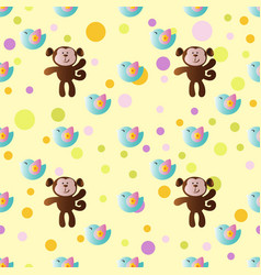 Pattern with cartoon cute toy baby monkey vector