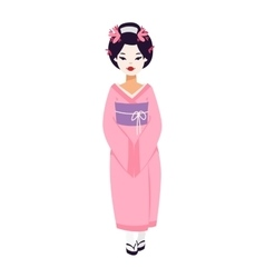 set of Japanese geisha girls vector image