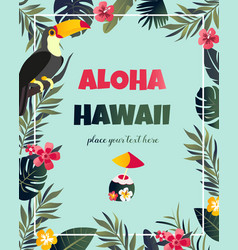 tropical hawaiian poster with toucan vector image