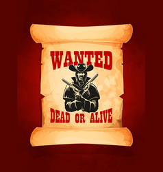 wanted dead or alive cowboy poster design vector image vector image