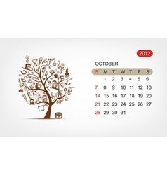 calendar 2012 october Art tree design vector image