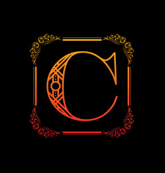letter c with ornament vector image vector image