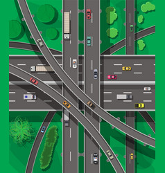 modern roads and transport top view vector image