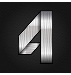 Number metal chrome ribbon - 4 - four vector image vector image