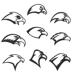 set of eagle heads icons isolated on white vector image vector image