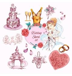 Wedding Sketch Colored vector image