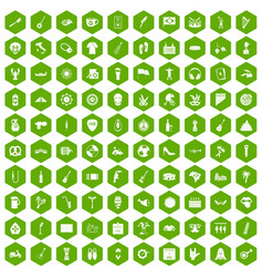 100 street festival icons hexagon green vector