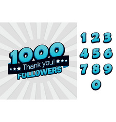1000 followers thank you for social vector image