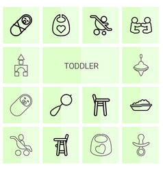 14 toddler icons vector image
