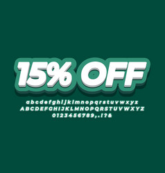15 off sale discount promotion text 3d green vector