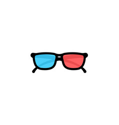 3d glasses front view icon flat on isolated white vector image