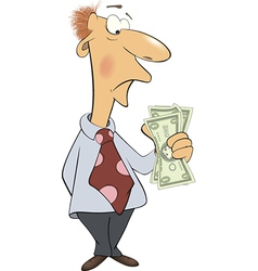 A business man with money cartoon vector image