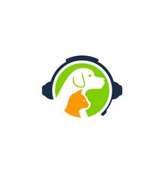 Animal podcast logo icon design vector