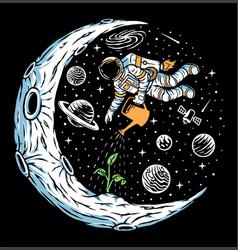 Astronaut plant trees on moon vector