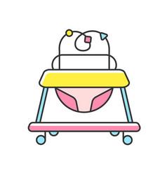 Baby walker rgb color icon vector
