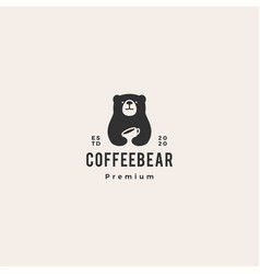 bear coffee logo icon hipster retro vintage vector image