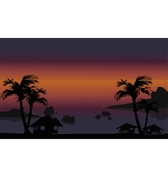 Beautiful beach scenery of silhouette vector image
