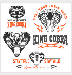 Biker patches king cobra - set vector