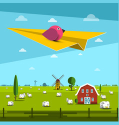 Bird on paper plane with farm on field on vector
