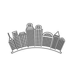 black contour city landscape with buildings vector image