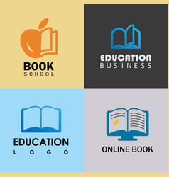 Book education logo set vector
