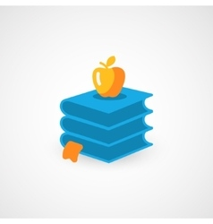 Books and Apple icon vector