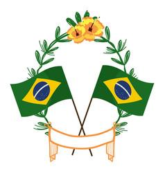 Brazil flags on laurel wreath vector