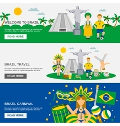Brazilian Culture 3 Flat Banners Set vector image