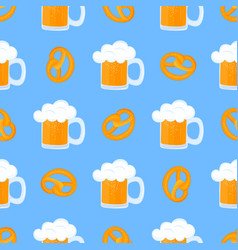 bretzel and mug beer with foam traditional vector image