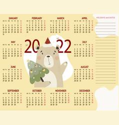 Calendar 2022 cute bear with christmas tree vector