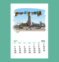 Calendar sheet philadelphia april month 2021 year vector