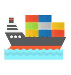 cargo ship flat icon logistic and delivery vector image