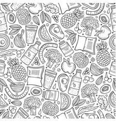 Cartoon hand-drawn diet food seamless pattern vector