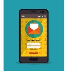 cellphone login message design vector image