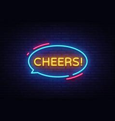 cheers neon text cheers neon sign design vector image