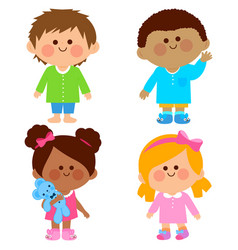 Children in pajamas vector