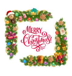 Christmas gifts and xmas tree garland frame corner vector