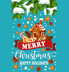 Christmas holiday ginger cookie greeting poster vector