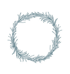 circular decoration or wreath made of rosemary vector image