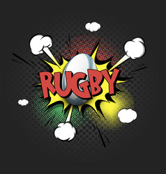 Comic bang with expression text rugby vector