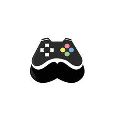 console gamer moustache symbol gaming play vector image