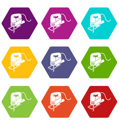 Corded jig saw icons set 9 vector