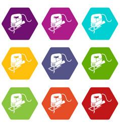 corded jig saw icons set 9 vector image