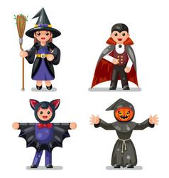 costume halloween children masquerade party kids vector image