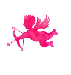 Cupid silhouette bow arrow heart valentines day vector