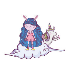 cute little fairy with unicorn in the clouds vector image
