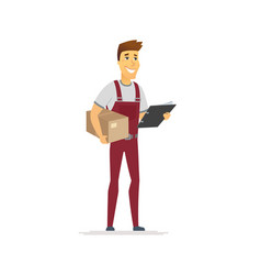 delivery service - cartoon people character vector image