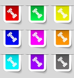 Domino icon sign Set of multicolored modern labels vector