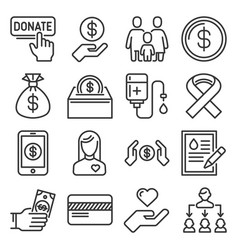 donation and charity icons set on white background vector image